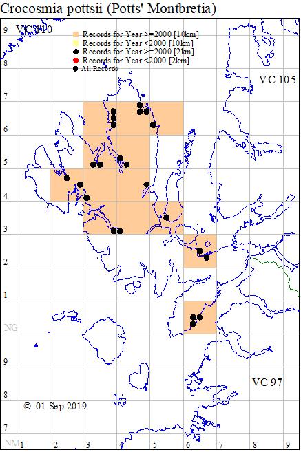 Crocosmia pottsii map